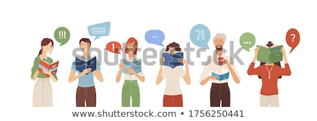 speech bubble template with woman holding book stock photo © colematt