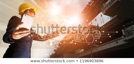 Architect helm blauwdruk smartphone architectuur bouw Stockfoto © dolgachov