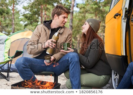 familie · vergadering · samen · picknick · bank · buitenshuis - stockfoto © dolgachov