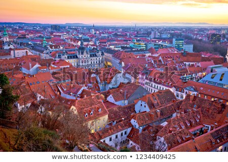 Zdjęcia stock: Zdumiewający · Graz · Cityscape · czerwony · dachy · zachód · słońca
