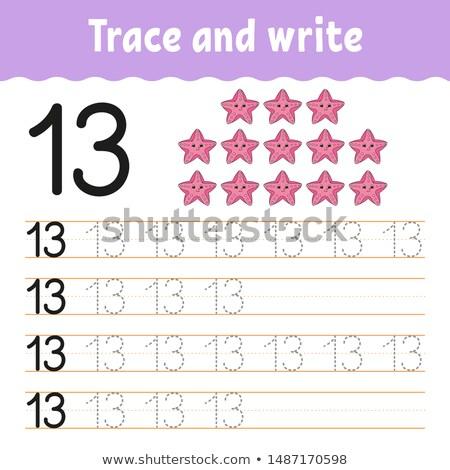 Pisać numer dopasowywanie uśmiech sztuki rysunek Zdjęcia stock © colematt