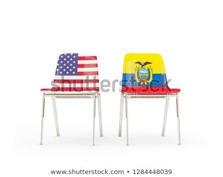 Twee stoelen vlaggen Ecuador geïsoleerd witte Stockfoto © MikhailMishchenko