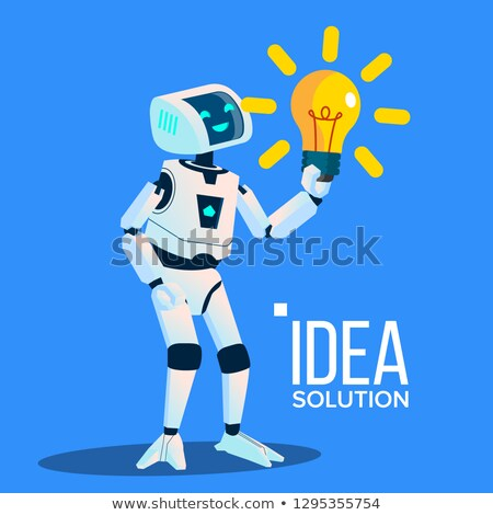 Smart Robot With Yellow Bulb Find An Idea, Solution Vector. Isolated Illustration Stock photo © pikepicture
