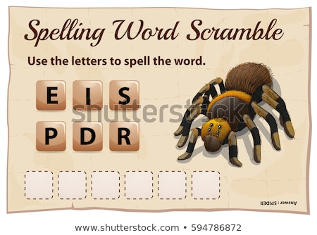 Spelling word scramble game with word spider Stock photo © colematt