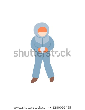 Child Making Snowball in Warm Winter-suit Vector Stock photo © robuart
