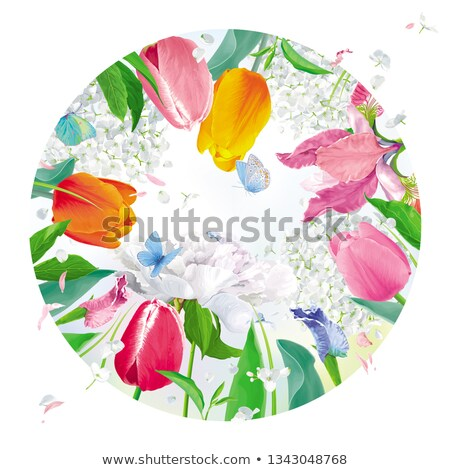 Amazing garden vector round floral composition Stock photo © LisaShu