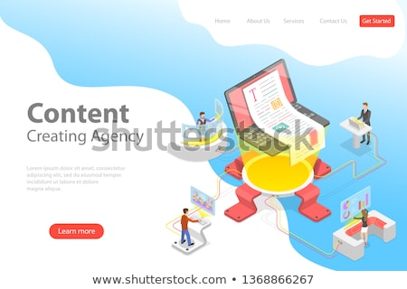 flat isometric vector landing pate template of content creating copywriting stock photo © tarikvision