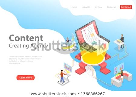 Flat isometric vector landing pate template of content creating, copywriting. Stock photo © TarikVision
