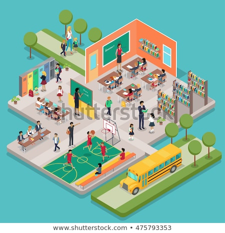 vector isometric school classroom stock photo © tele52