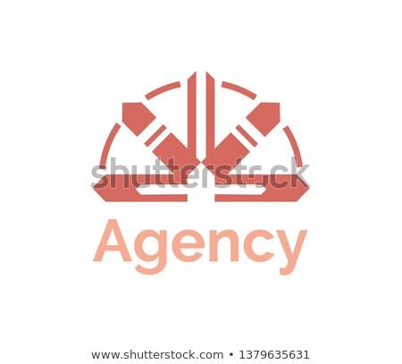 Agence signe rouge vecteur logo Photo stock © robuart