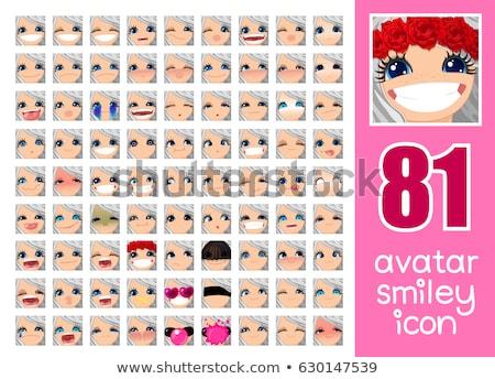 Vector Set 81 Avatars For Girl Stock fotó © VetraKori