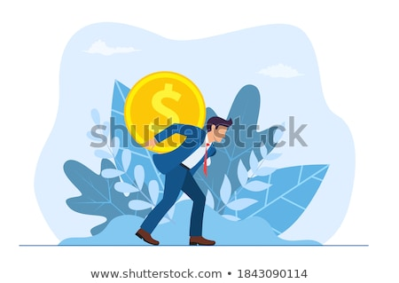 Man Carrying Golden coin with Dollar Sign on Back Stock photo © robuart