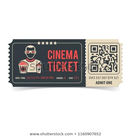 Cinema bilhete qr code filme pipoca soda Foto stock © -TAlex-