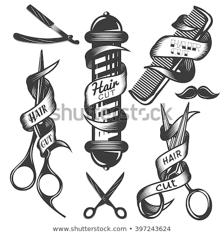 Stockfoto: Logo · lint · schaar · gevaarlijk · scheermes · mode