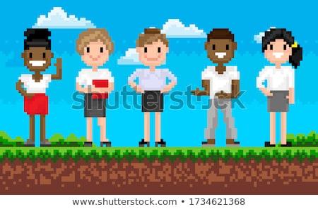 Pixel Character, Geometric Superhero, Game Vector Stock photo © robuart