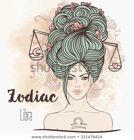 Zodiac Libra Sign, Balance Scales, Outline Drawing Stock photo © robuart