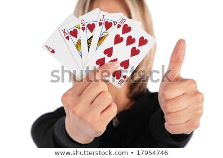 nő · kártyák · kéz · kézmozdulat · hüvelykujj · jókedv - stock fotó © Paha_L
