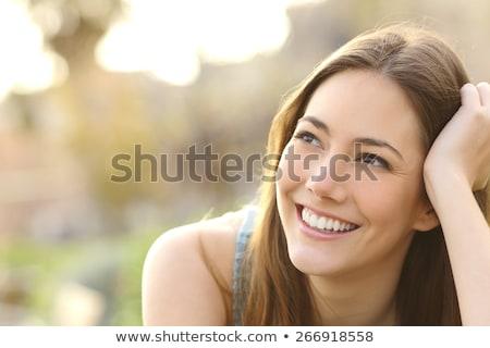 Stockfoto: Mooie · jonge · aantrekkelijke · vrouw · buitenshuis · portret · denken
