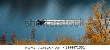 Motorówka rzeki jesienny wzgórza jesienią Zdjęcia stock © lypnyk2