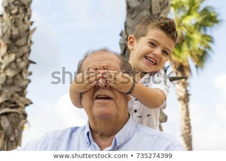 Enkel Lächeln glücklich blau Spaß Junge Stock foto © Paha_L