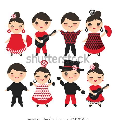 Flamenco dancer woman gipsy red rose  spanish fan Stock photo © lunamarina
