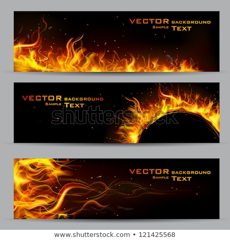 Fire Flaming Banner Vector Illustration Stockfoto © Vectomart