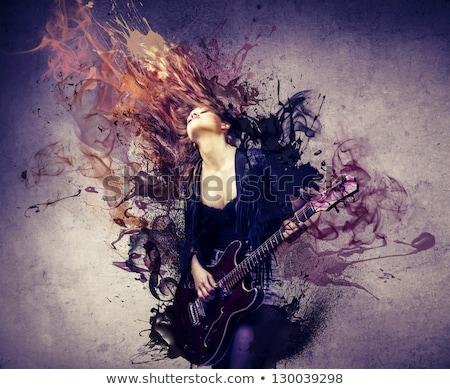jovem · músico · feminino · estudante · jogar · guitarra - foto stock © photography33