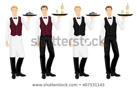 Waiter holding tray with wine bottle Stock photo © photography33