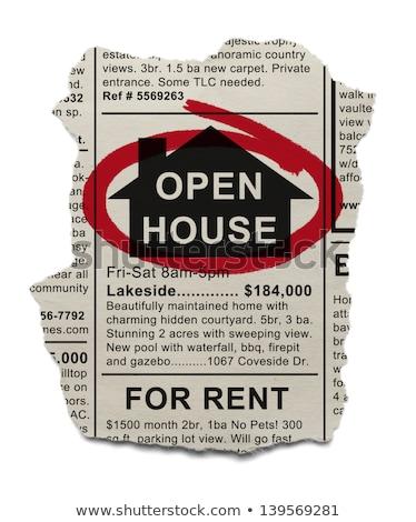 advertentie · Open · huis · krant · onroerend - stockfoto © devon