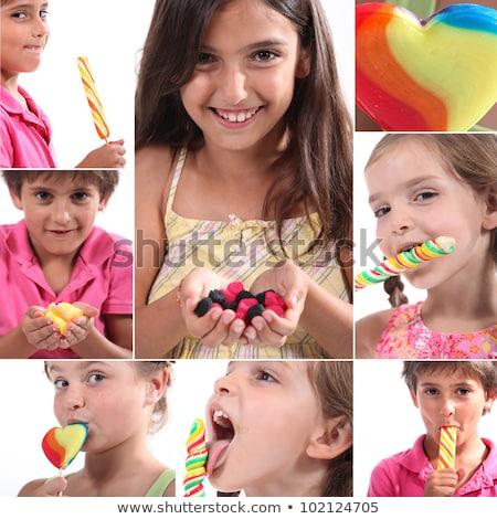 Montage kinderen eten snoep familie voedsel Stockfoto © photography33