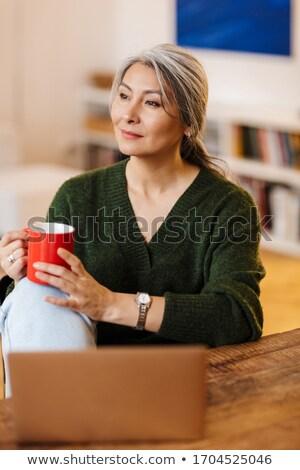 Kobieta siwe włosy komputera pracy włosy domu Zdjęcia stock © photography33