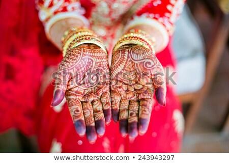 El kına boyalı düğün renk halka Stok fotoğraf © samsem