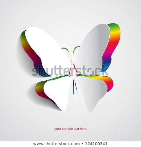 vlinder · gift · card · verf · Rood · zwarte · goud - stockfoto © moatsem059