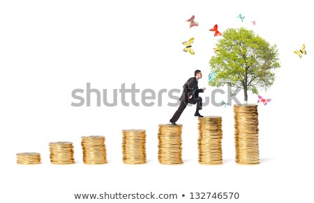businessman and tree with butterflies on money stairs stock photo © vlad_star