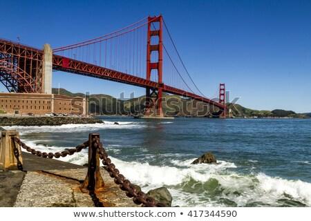 Forgalom Golden Gate híd délután építkezés fém piros Stock fotó © meinzahn