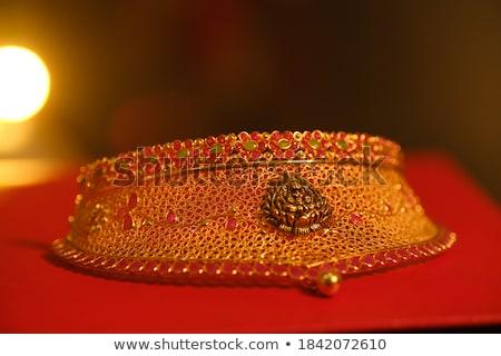 Piros gyöngyök arany díszek illusztráció textúra Stock fotó © yurkina