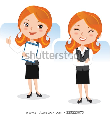 portret · gelukkig · jonge · zakenvrouw · permanente - stockfoto © HASLOO