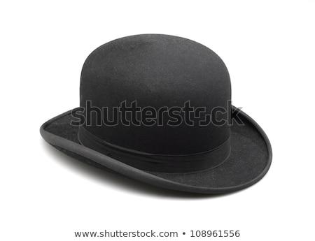 黒 · フェドーラ · 古い · 帽子 · 孤立した · 白 - ストックフォト © sqback