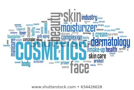 Beauty producten woordwolk masker kleur vrouwelijke witte Stockfoto © gsermek