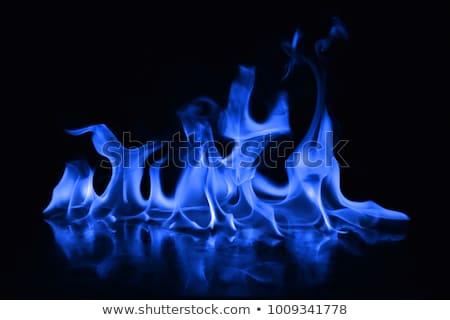 Abstract Blu Fuoco Fiamme Sfondo Arancione Foto D