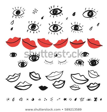 Zdjęcia stock: Set Red The Girl Of Lips A Vector Illustration