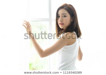 Stok fotoğraf: Asya · genç · kadın · geri · yalıtılmış · beyaz · kadın