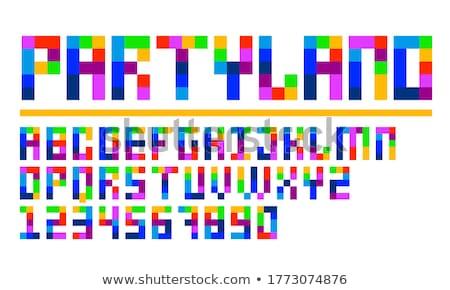 Praça colorido quebra-cabeça gráfico crianças edifício Foto stock © shawlinmohd
