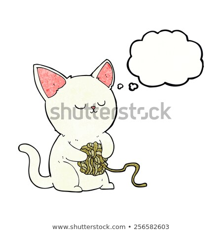 cartoon cat playing with ball of yarn with thought bubble stock photo © lineartestpilot