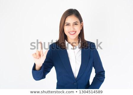 счастливым деловая женщина прикасаться мнимый экране молодые Сток-фото © AndreyPopov