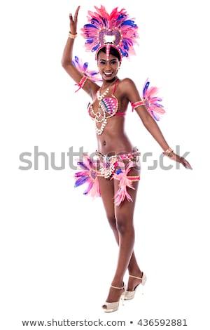 afrikai · karnevál · fehér · teljes · alakos · szamba · táncos - stock fotó © stockyimages