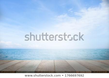 Boş ahşap güverte tablo deniz yaz Stok fotoğraf © happydancing