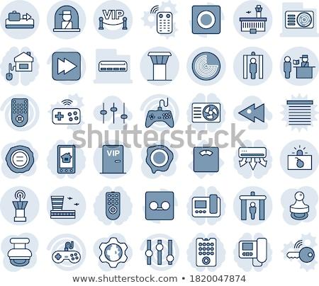 Ház felszerelések kék vektor gomb ikon Stock fotó © rizwanali3d