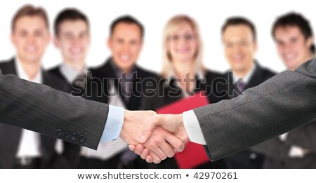 shaking hands with wrists and six business group out of focus co stock photo © paha_l
