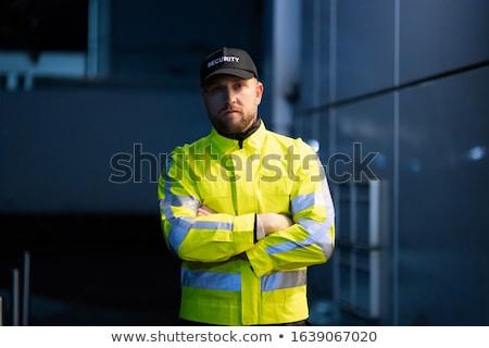 ochroniarz · stałego · na · zewnątrz · budynku · portret · poważny - zdjęcia stock © andreypopov